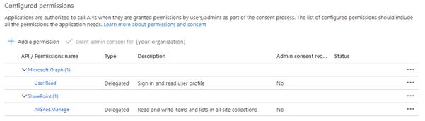 Configuring API permissions
